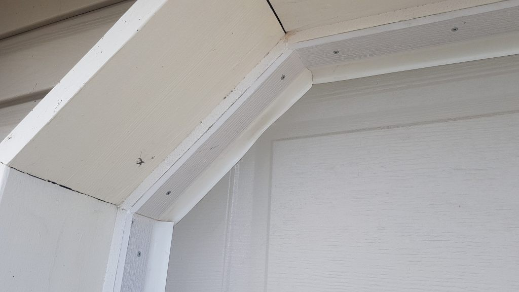 View of weather stripping applied to the door.
