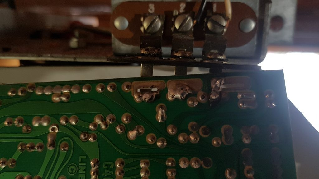 Linear reciever terminals that has been soldered back to the logic board.