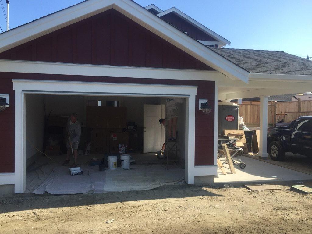 View of garage door opening that has not been installed yet.