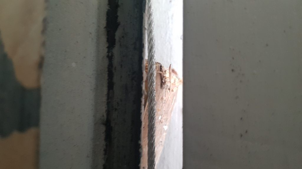 View of garage door obstruction