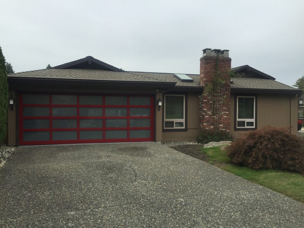 red modern classic with satin etch windows