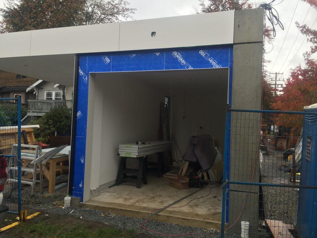 View of garage door that has not been installed yet.