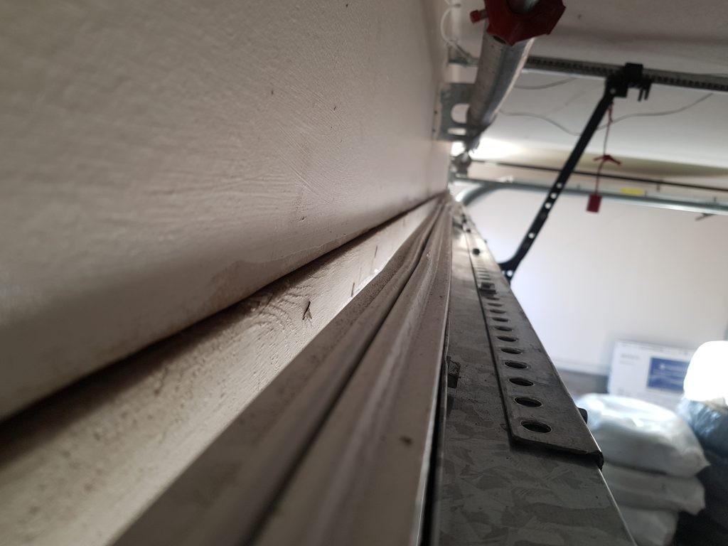 View of repaired insulated garage door.